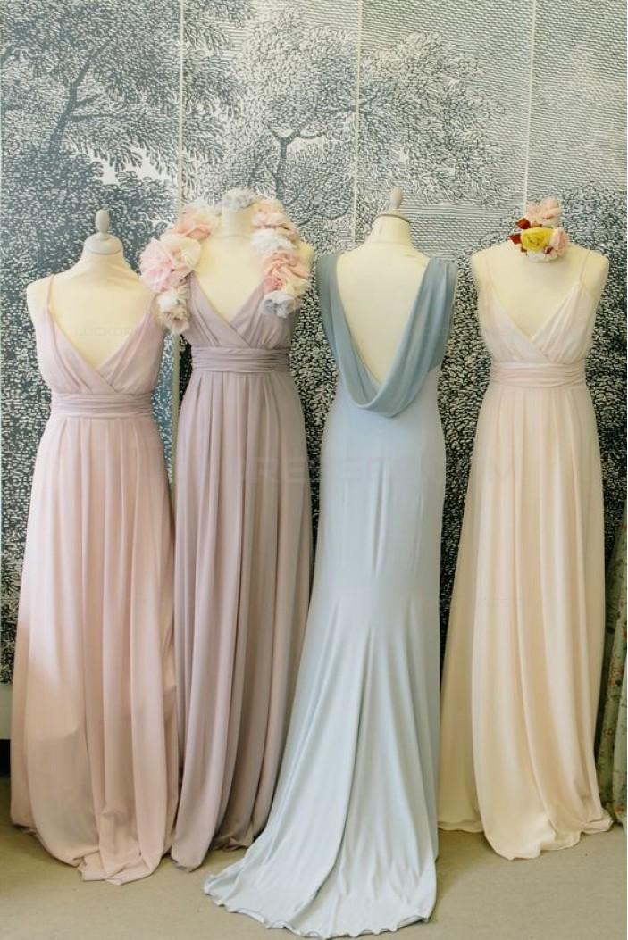 Spaghetti Straps V-Neck Floor-Length Chiffon Wedding Guest Dresses Bridesmaid Dresses 3010111