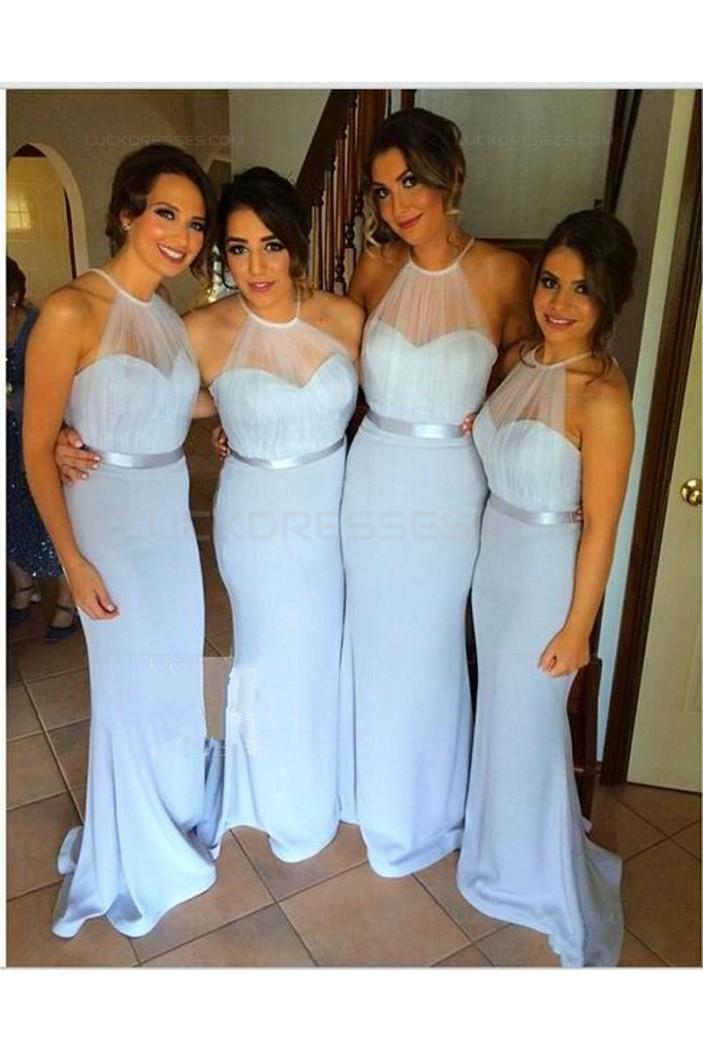 Long Blue Halter Wedding Guest Dresses Bridesmaid Dresses 3010115