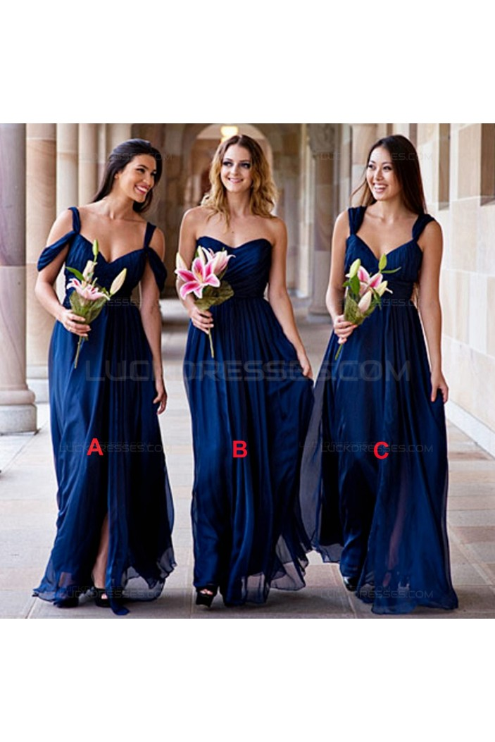 Long Blue Chiffon Wedding Guest Dresses Bridesmaid Dresses 3010117