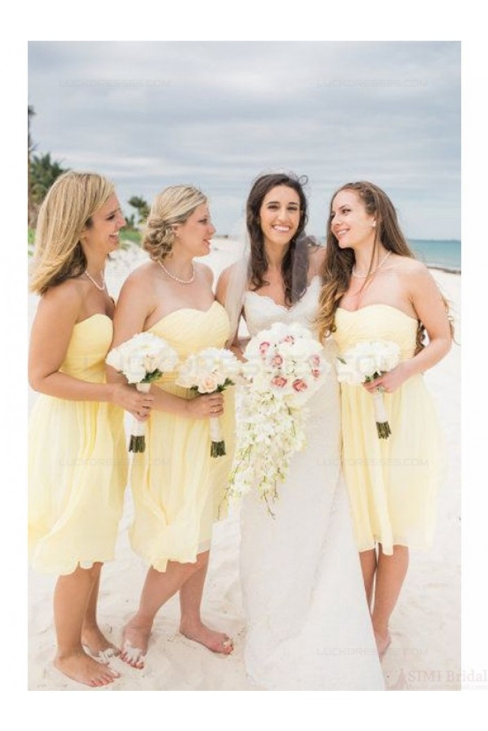 Short Strapless Yellow Chiffon Wedding Guest Dresses Bridesmaid Dresses 3010120