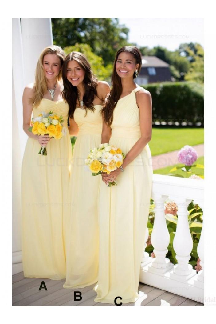 Long Yellow Chiffon Wedding Guest Dresses Bridesmaid Dresses 3010121
