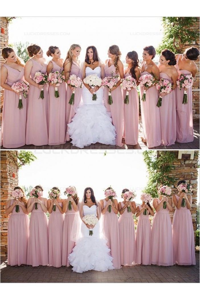 Pink One-Shoulder Floor-Length Chiffon Wedding Guest Dresses Bridesmaid Dresses 3010123