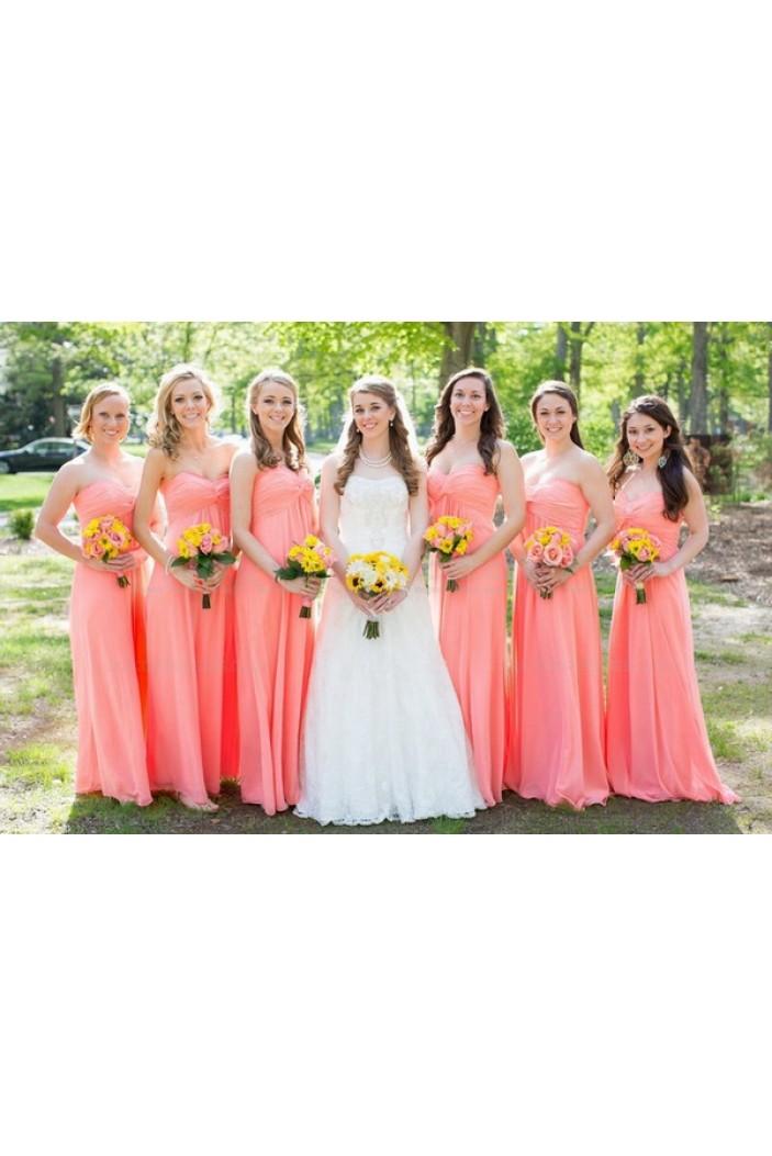 Empire Sweetheart Floor-Length Chiffon Wedding Guest Dresses Bridesmaid Dresses 3010125