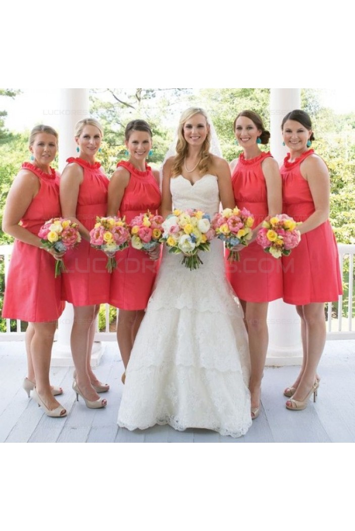 Short Red Wedding Guest Dresses Bridesmaid Dresses 3010127