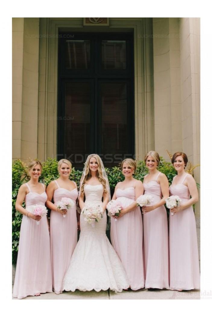 Spaghetti Straps Long Chiffon Wedding Guest Dresses Bridesmaid Dresses 3010131