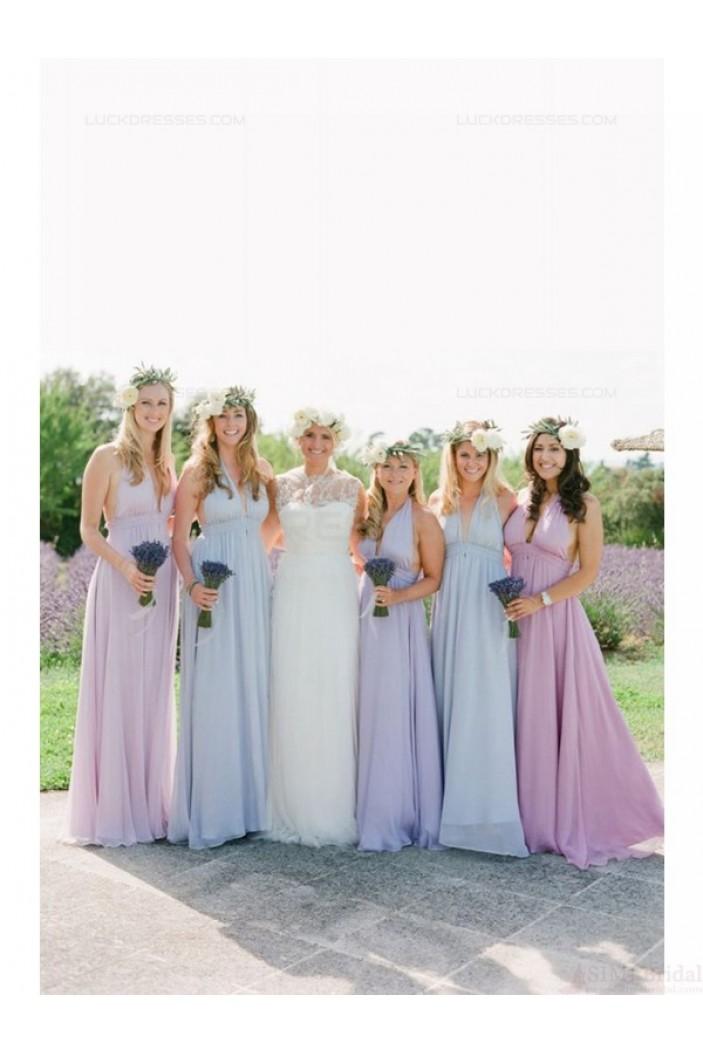 Halter Long Chiffon Wedding Guest Dresses Bridesmaid Dresses 3010132