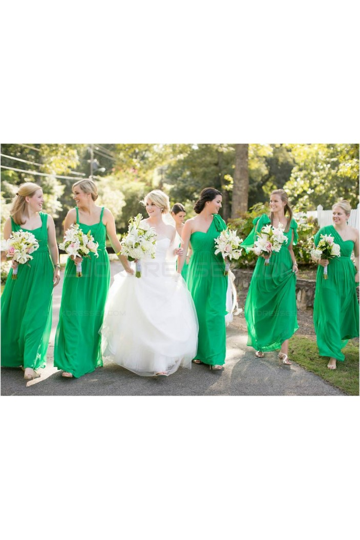 Long Green Chiffon Wedding Guest Dresses Bridesmaid Dresses 3010135