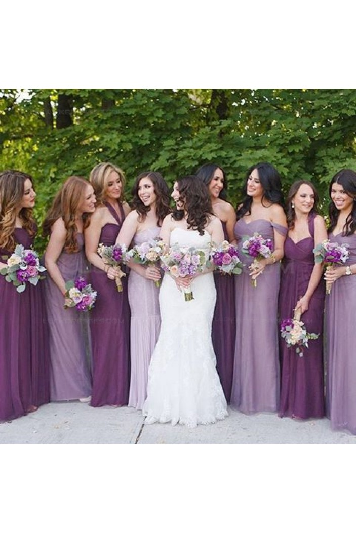 Empire Long Purple Wedding Guest Dresses Bridesmaid Dresses 3010142