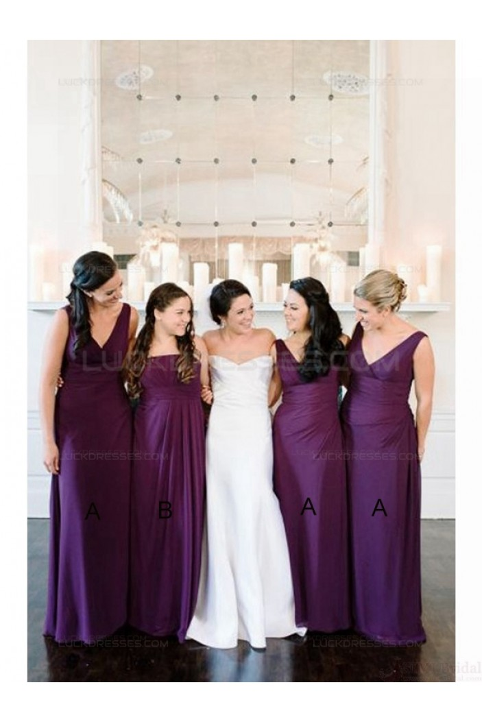 Purple Floor-Length Chiffon Wedding Guest Dresses Bridesmaid Dresses 3010144