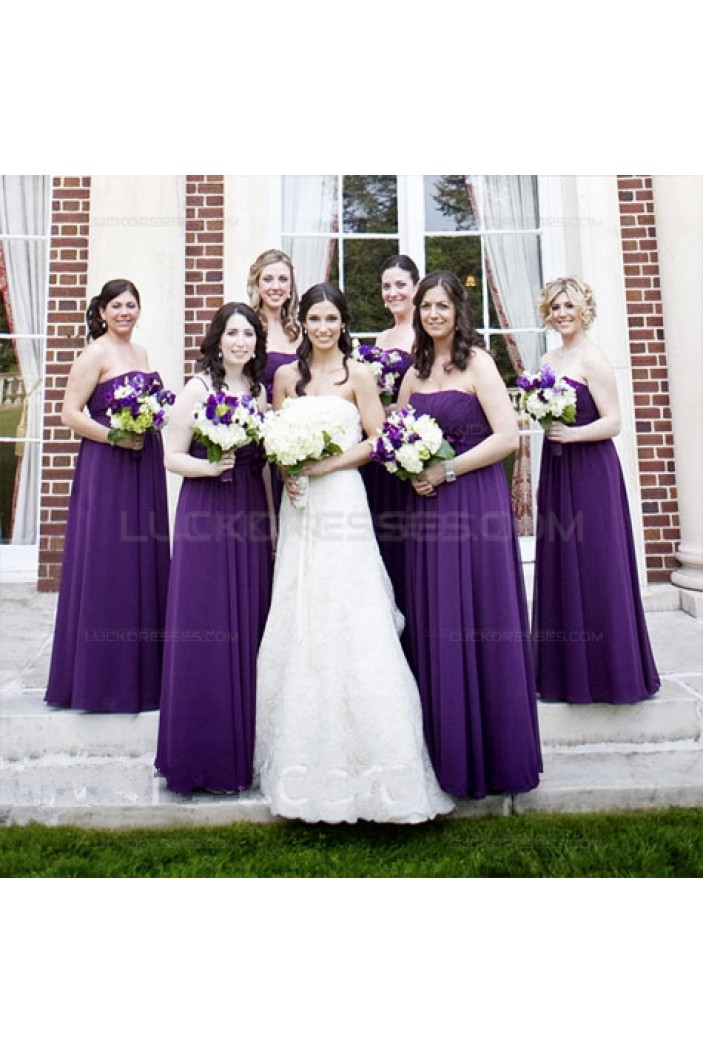 Empire Strapless Long Purple Chiffon Wedding Guest Dresses Bridesmaid Dresses 3010148