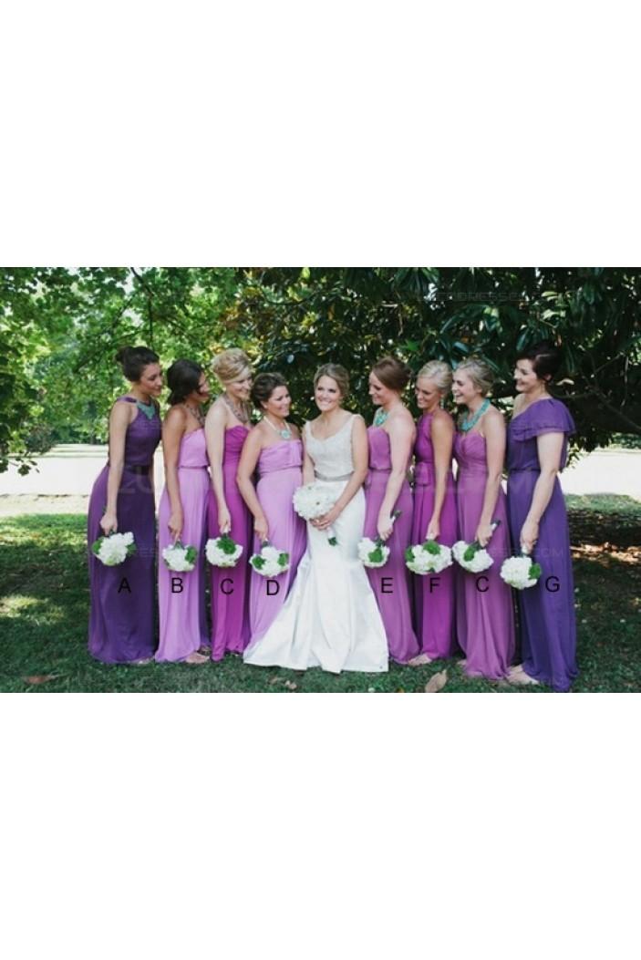 Long Purple Chiffon Wedding Guest Dresses Bridesmaid Dresses 3010149