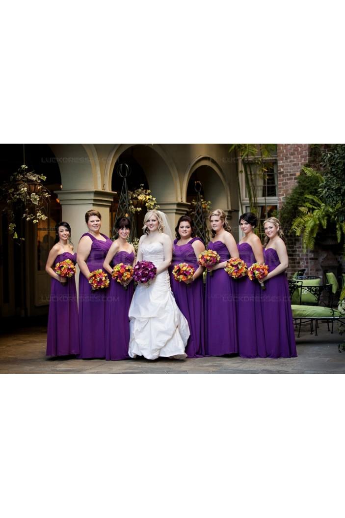 Long Purple Chiffon Plus Size Wedding Guest Dresses Bridesmaid Dresses with Removable Straps 3010150