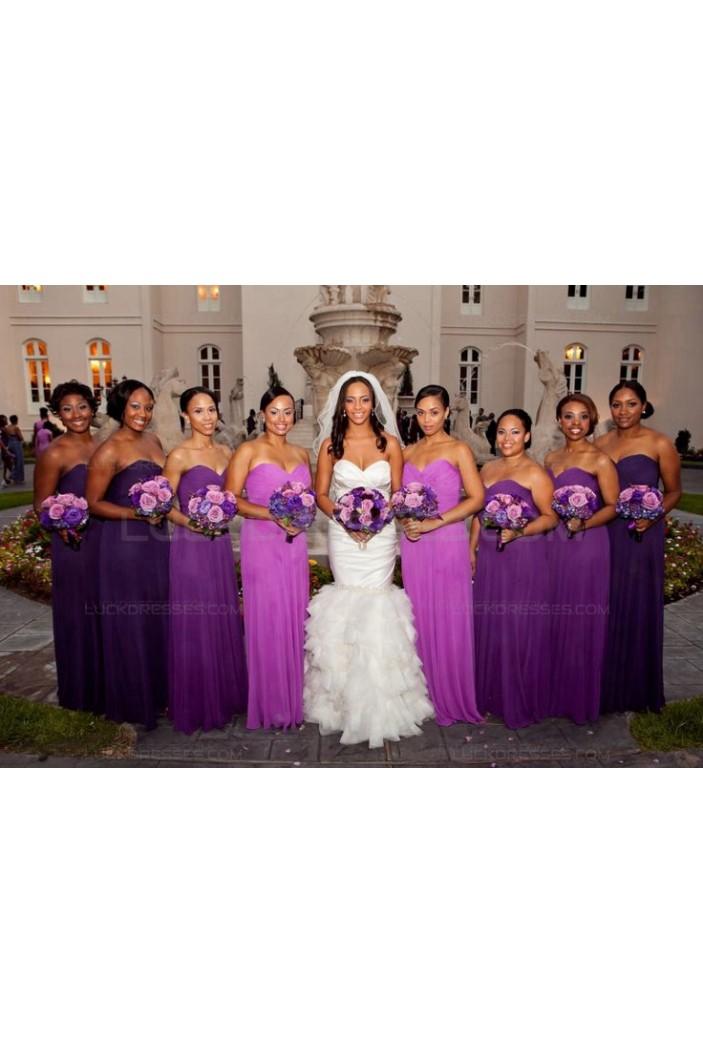 Long Purple Sweetheart Chiffon Plus Size Country Wedding Guest Dresses Bridesmaid Dresses 3010154