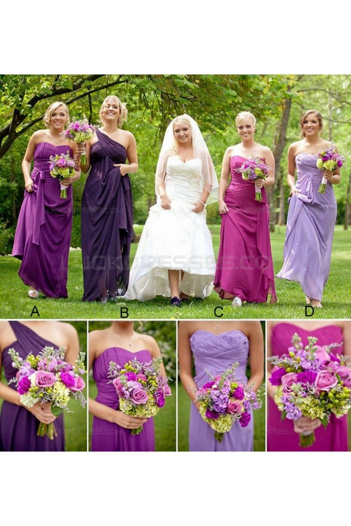 Long Purple Chiffon Country Wedding Guest Dresses Bridesmaid Dresses 3010156