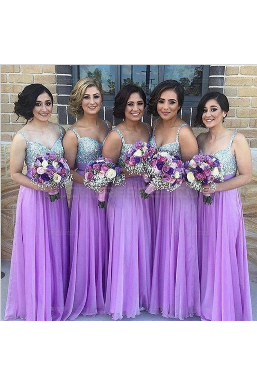 Lilac Sequins Long Chiffon Wedding Guest Dresses ...