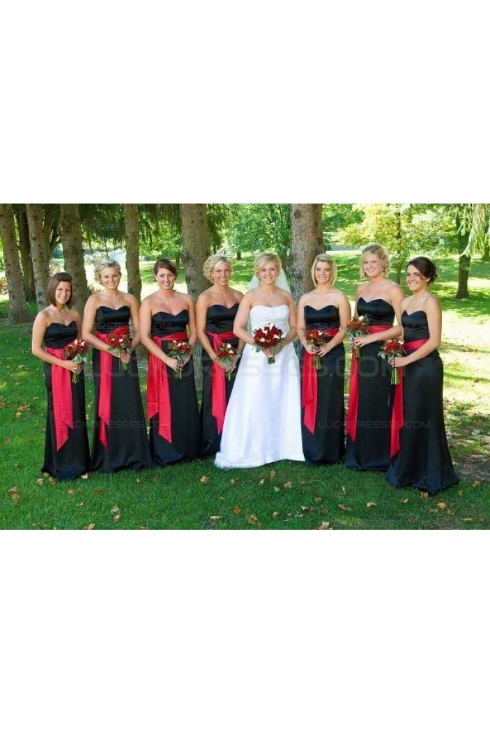 Black Red Long Wedding Guest Dresses Bridesmaid Dresses 3010164