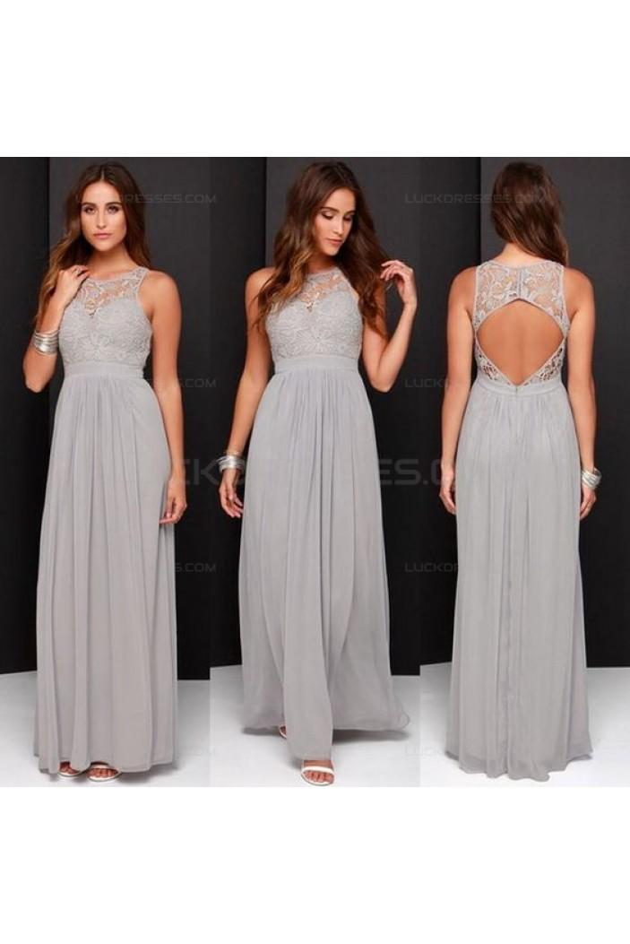 Grey Chiffon Lace Floor-Length Wedding Guest Dresses Bridesmaid Dresses 3010166