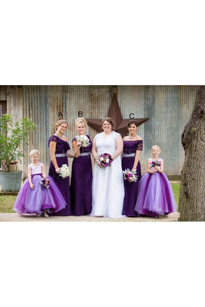 Purple Lace Floor-Length Wedding Guest Dresses Bridesmaid Dresses 3010167
