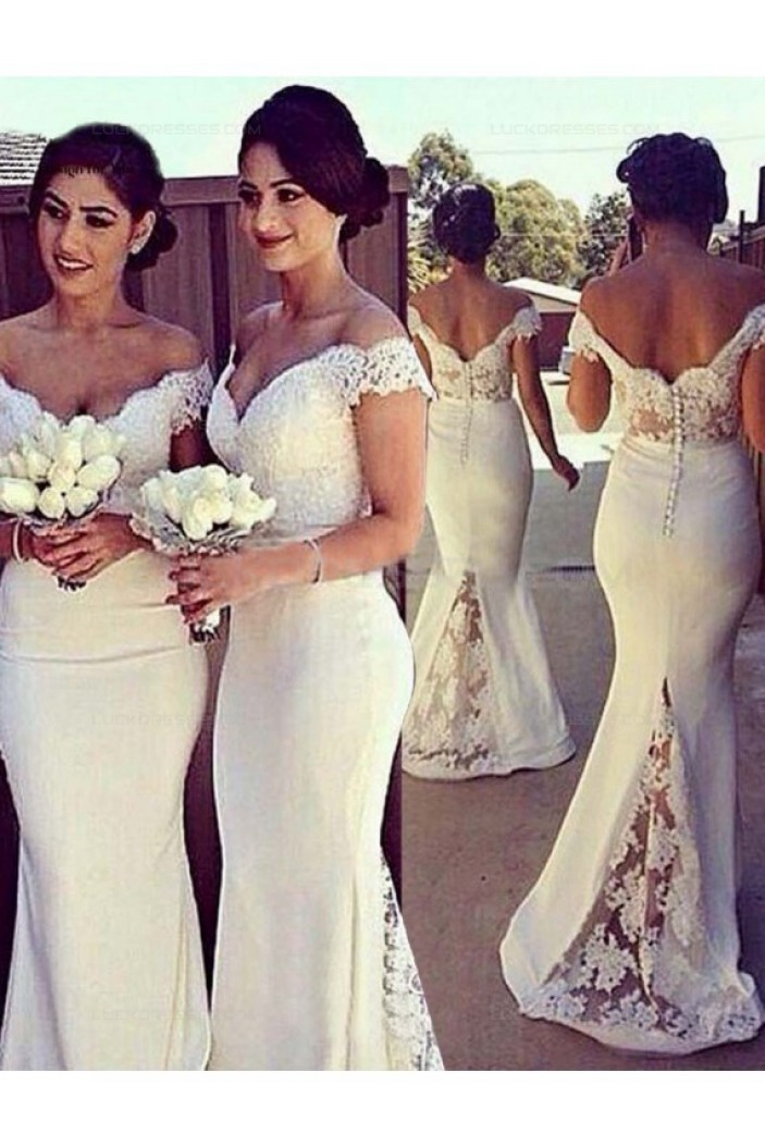 Mermaid Off-the-Shoulder Lace Long Wedding Guest Dresses Bridesmaid Dresses 3010170