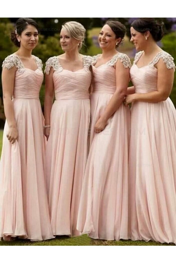 Long Pink Lace Chiffon Wedding Guest Dresses Bridesmaid Dresses 3010171
