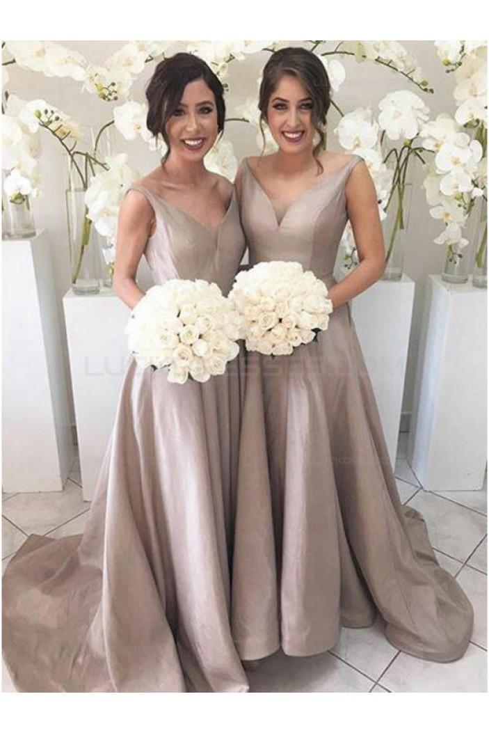 A-Line V-Neck Long Wedding Guest Dresses Bridesmaid Dresses 3010172
