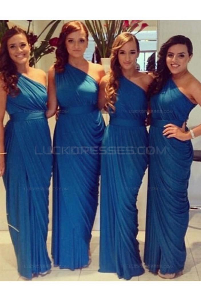 Sheath One-Shoulder Long Blue Wedding Guest Dresses Bridesmaid Dresses 3010177