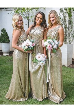 One-Shoulder Sequins Long Wedding Guest Dresses Bridesmaid Dresses 3010179