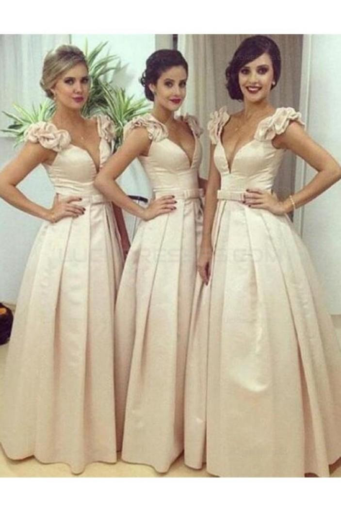A-Line V-Neck Long Wedding Guest Dresses Bridesmaid Dresses 3010180