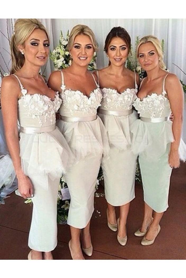 Spaghetti Straps Lace Tea Length Wedding Guest Dresses Bridesmaid Dresses 3010183