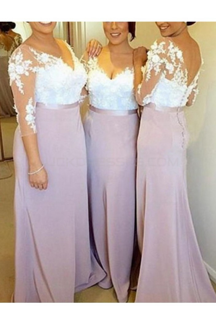 3/4 Length Sleeves V-Neck Lace Long Wedding Guest Dresses Bridesmaid Dresses 3010190