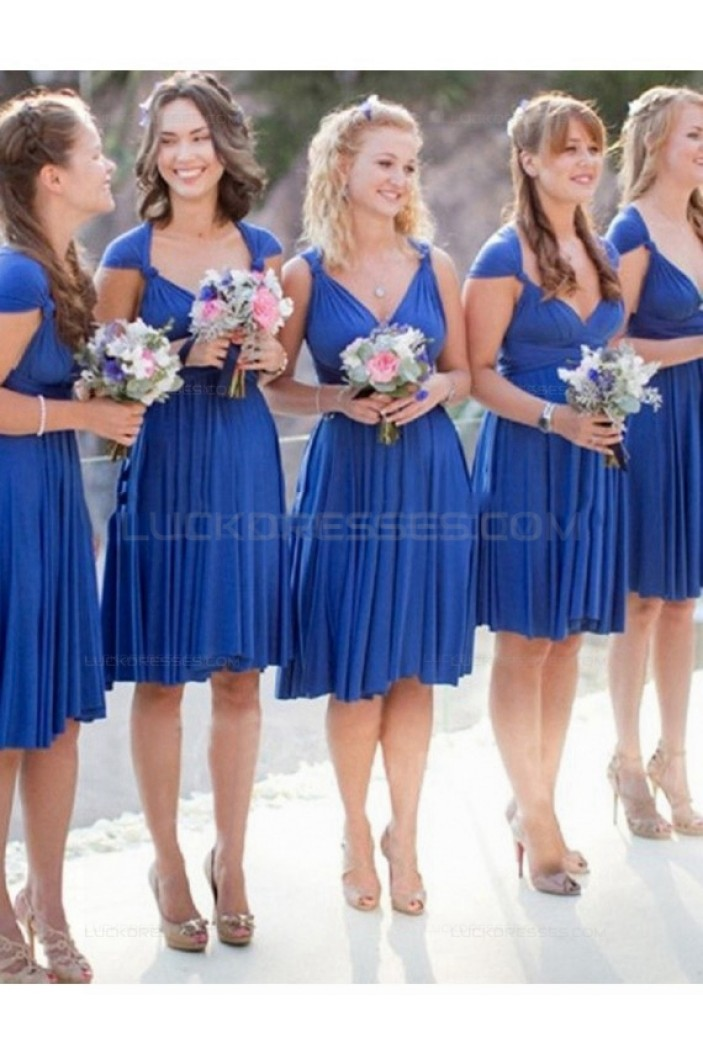 Short Blue V-Neck Knee Length Wedding Guest Dresses Bridesmaid Dresses 3010191
