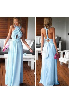 Long Blue Chiffon Wedding Guest Dresses Bridesmaid Dresses 3010200