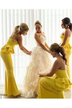 Mermaid Long Yellow Wedding Guest Dresses Bridesmaid Dresses 3010201