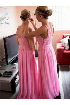 Long Pink Lace Chiffon Wedding Guest Dresses Bridesmaid Dresses 3010202