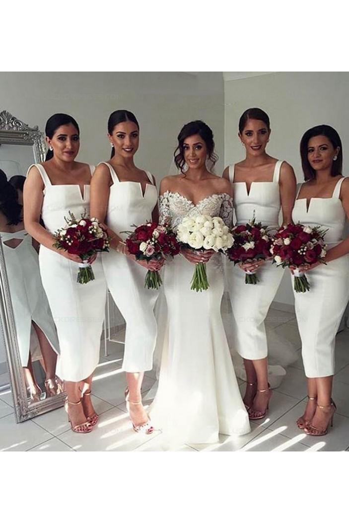 Tea Length Straps Sleeveless Wedding Guest Dresses Bridesmaid Dresses 3010205