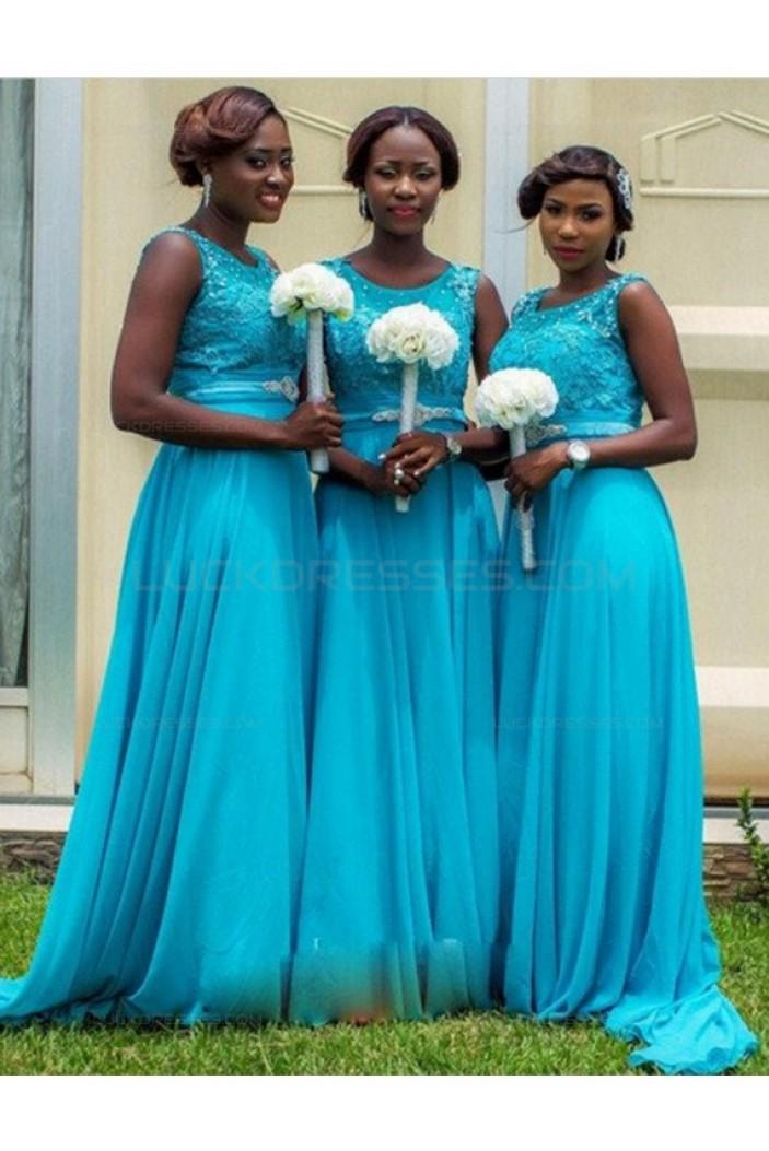 Long Blue Lace Chiffon Wedding Guest Dresses Bridesmaid Dresses 3010206