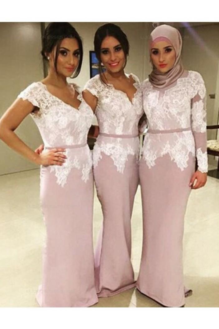 Cap Sleeves V-Neck Lace Bodice Long Wedding Guest Dresses Bridesmaid Dresses 3010213