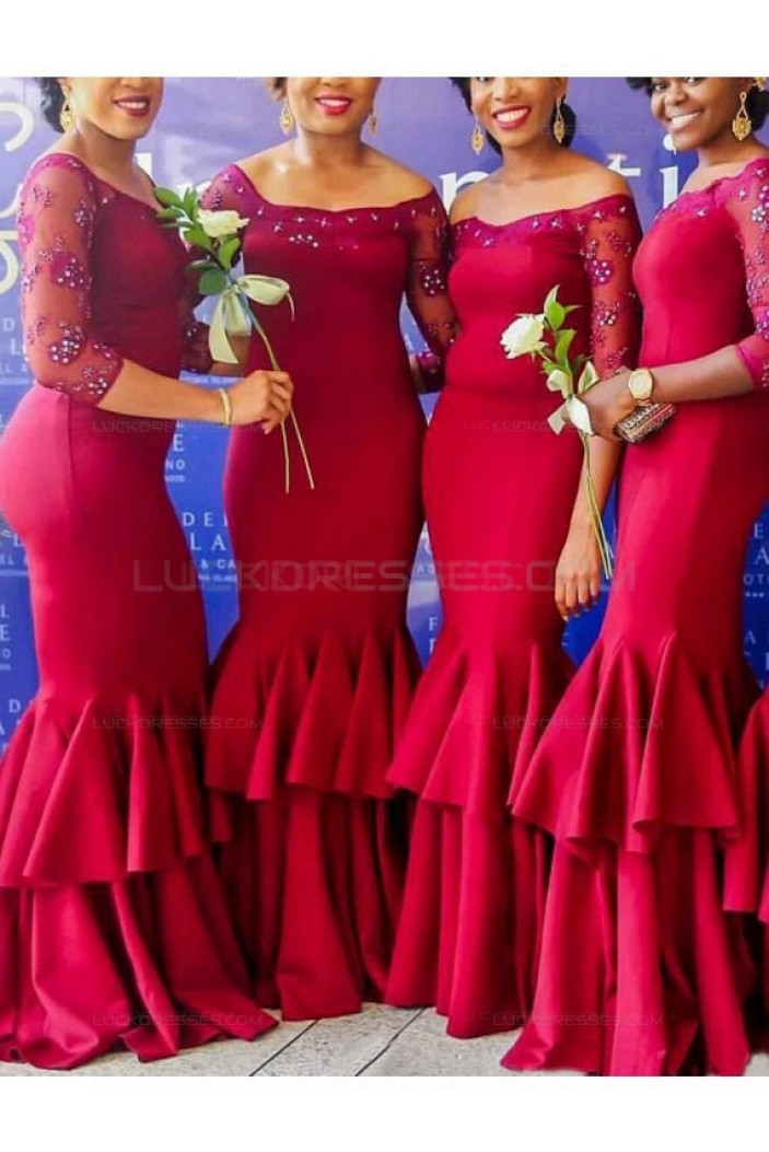 Mermaid 3/4 Length Sleeves Long Wedding Guest Dresses Bridesmaid Dresses 3010218