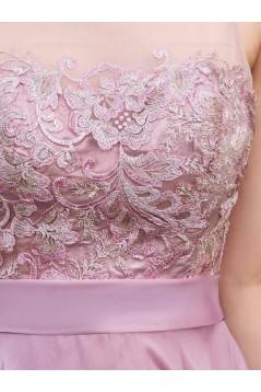 A-Line Lace Chiffon Illusion Neckline Long Wedding Guest Dresses Bridesmaid Dresses 3010219