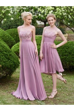 A-Line Lace Chiffon Illusion Neckline Short Wedding Guest Dresses Bridesmaid Dresses 3010220