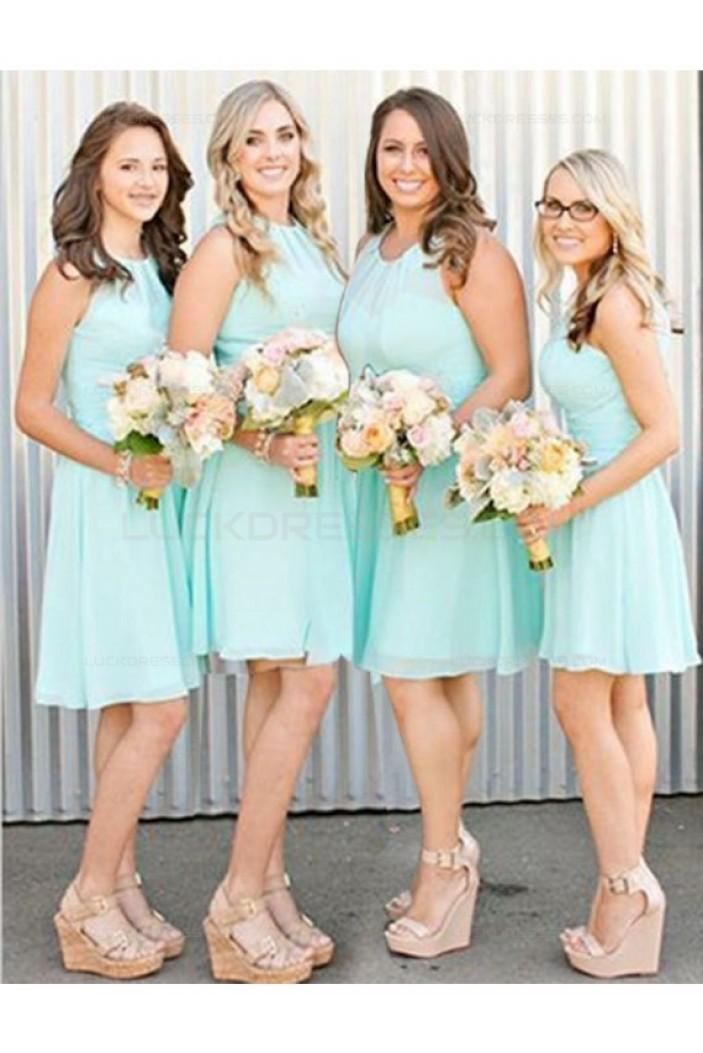 A-Line Short Blue Chiffon Wedding Guest Dresses Bridesmaid Dresses 3010221