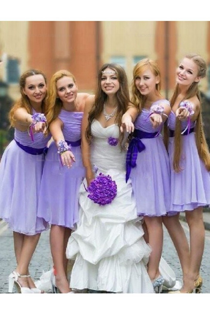 Short Purple Chiffon Wedding Guest Dresses Bridesmaid Dresses 3010222