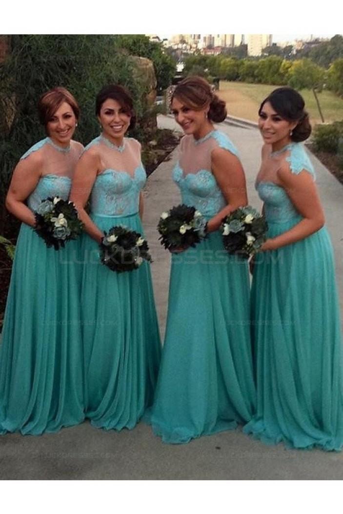 A-Line Lace Chiffon Illusion Neckline Plus Size Wedding Guest Dresses Bridesmaid Dresses 3010224