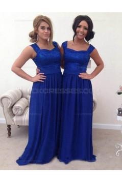 Long Blue Lace Chiffon Wedding Guest Dresses Bridesmaid Dresses 3010227