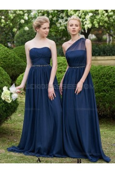 A-Line Long Navy Wedding Guest Dresses Bridesmaid Dresses 3010230