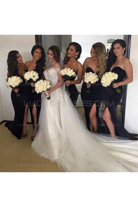 Long Black Side Slit Wedding Guest Dresses Bridesmaid Dresses 3010233,Womens Wedding Guest Dresses Fall