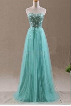 A-Line Sweetheart Beaded Long Wedding Guest Dresses Bridesmaid Dresses 3010234