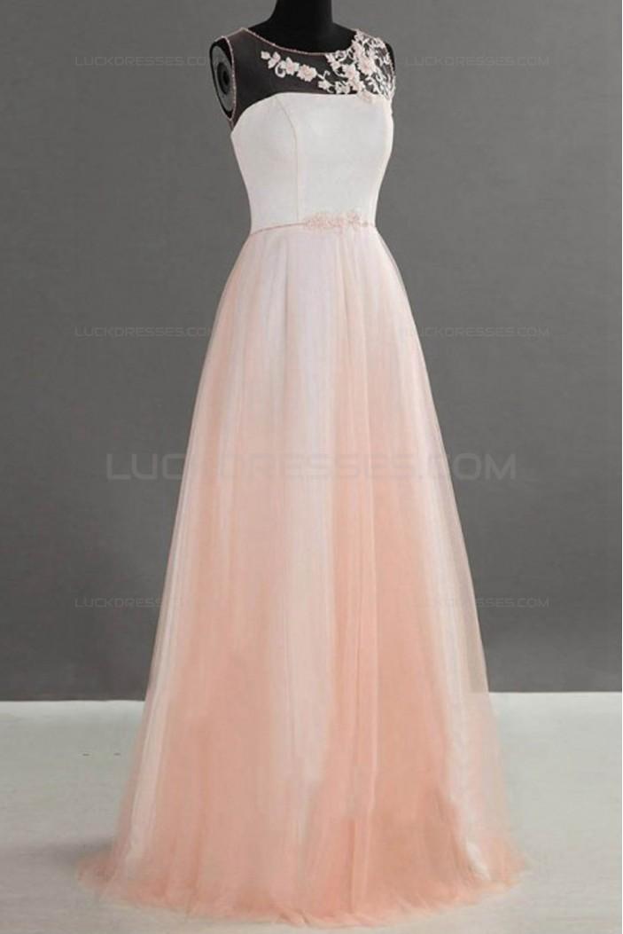 A-Line Illusion Neckline Long Wedding Guest Dresses Bridesmaid Dresses 3010236