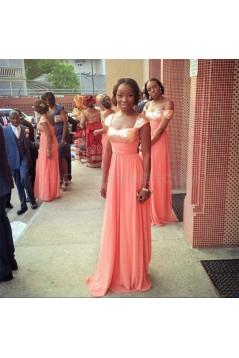 Long Coral Sequins Chiffon Wedding Guest Dresses Bridesmaid Dresses 3010240