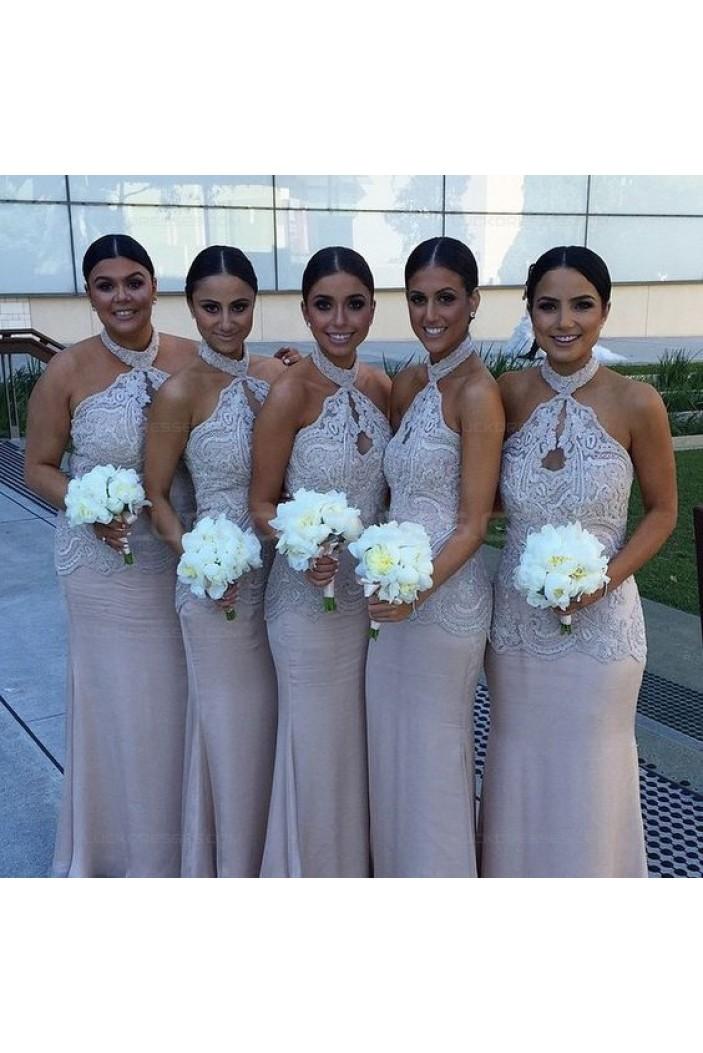Mermaid Halter Lace Long Wedding Guest Dresses Bridesmaid Dresses 3010242